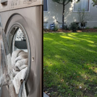 Simple DIY Greywater Laundry to Lawn System