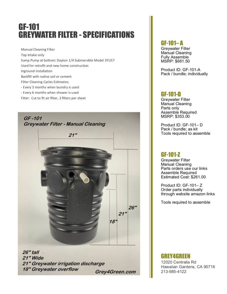 Greywater Filter Inground Manual Cleaning
