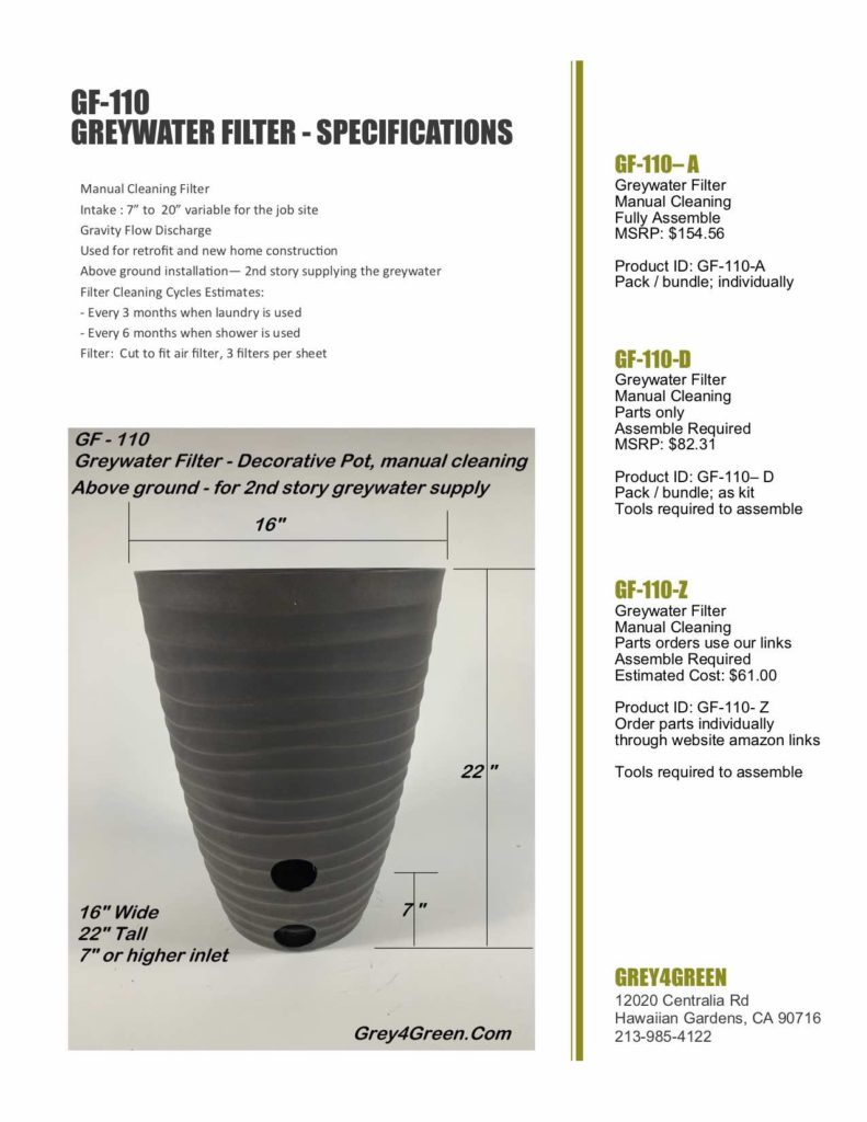 Greywater Filter Planter Manual Cleaning