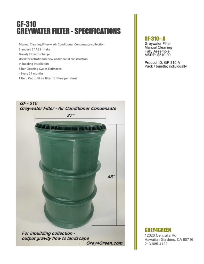 Greywater Filter Manual Cleaning Commercial